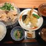 88544728 - 三元豚の胡麻だれしゃぶしゃぶと海老と野菜の天ぷら