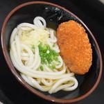 松下製麺所 - うどん1玉(200円)+コロッケ(90円)2018年6月