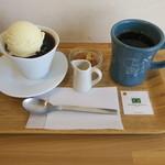 珈琲や - 自家製 水出し珈琲ゼリーのセット、ハンドドリップコーヒー(ブラジル ブルボン アマレーロ)と1