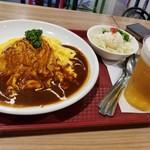 横濱たちばな亭 - 洋食屋さんのオムレツライス+サラダ&アルコールセット(税別880+580円)