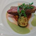 レストラン デュ パルク - 鴨肉のグリエ ラタトゥイユと青トマトの柚子胡椒風味