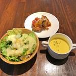 Pizzeria Bar Trico - 本日のピッツァ Setのサラダとスープ + 本日の小皿料理(カポナータ)