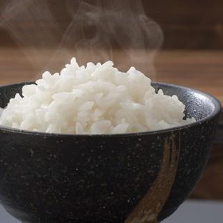 地元のブランド米「あいちのかおり」炊きたてほっかほかご飯