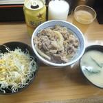 丼太郎 - 牛丼セット390円+缶ビール250円(2018.5.28)