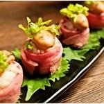 渋谷 牡蠣入レ時 - 牡蠣のローストビーフ巻き(丸投げコース8品目)