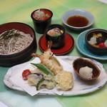 つきじ植むら 旬泉坊 - 海老と夏野菜天ぷらとそば