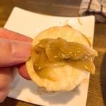 温故知新 - エビみそを薄焼き煎餅にオン