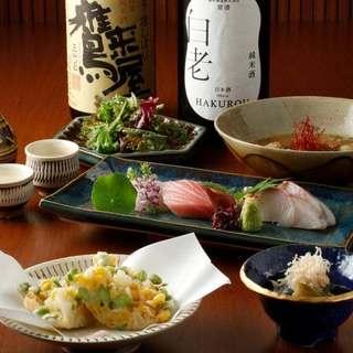 大人気!厳選日本酒・焼酎含む飲み放題付きコース6,000円