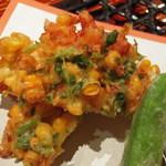 旬菜 甘の井 - 海老とトウモロコシのかき揚