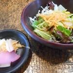 ステーキの志摩 - おしんこ&サラダ