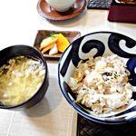 萌木 - お野菜御膳;お味噌汁、香の物、炊き込みご飯