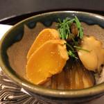 お料理 七草 - あわびの飯蒸し唐墨添え