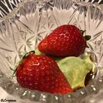 お料理 七草 - イチゴに抹茶のババロア