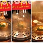 88660592 - 野菜の蒸し工程 左→中央→右(蒸し完了)