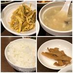 本格四川料理 三鼎 - ◆もやしと春雨の辛味和え・・錦糸卵が入り辛いけれどいい味わい。 ◆スープは薄味で好みではなかったですね。 ◆ご飯の質は普通で、お代わり可能。炊飯ジャーが置かれ、自由に頂けるようでした。