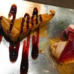 88675419 - 前菜3種。キッシュ・牡蠣・生ハムチーズクリーム