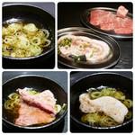 焼肉 基 - ブタと牛(外モモ)のしゃぶしゃぶはたっぷり葱のスープでしゃぶしゃぶ