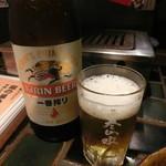 88678093 - 瓶ビール  手酌でコップへ。
