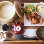カフェ リーノ - 2018年7月:柚子おろしぽん酢唐揚げと土鍋ごはん