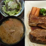 にんぎょう町 谷崎 - ポークシチュー定食 税込1000円、豚汁に変更 税込100円