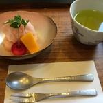 銀座 和久多 - トマトのシャーベット 佐藤錦とパパイヤ