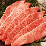炭火焼肉 なかむら  - 『和牛特選ミスジ』 一頭から極少量しか取れない為、超レアな逸品。美しい霜降りのとろけるような味わい。