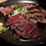伊のマタギ - タタキの盛り合わせ(蝦夷鹿もも、猪肉の炙り、和牛霜降り肉)