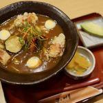 玉川 - 豊橋カレーうどん 930円 + 豆ちくわの天ぷら 260円