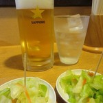 88740237 - 生ビール@450円(税別)と焼酎グラス@300円(税別)をロックで!