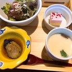 尾道和食レストラン ゆう家 - 茶碗蒸し、焼きなす、サラダ、デザート