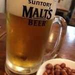 東北人家 - 生ビールとお通し