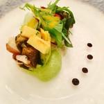 エスカーレ - 蛸のマリネとグリル野菜のタルタル仕立てとアボガドのピュレ     〜フレッシュ野菜のサラダを添えて〜