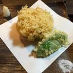 蕎麦処 みかわ - かき揚げ エビ・アスパラ