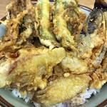 豊野丼 - いわしと野菜天丼に、今日は夏野菜がチラホラ
