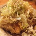 かつぎや - お馴染み7 錦爽鶏の唐揚げ葱ソースがけ 濃い味とさっぱり味交互にいただきました いつまでも飲めます(笑)