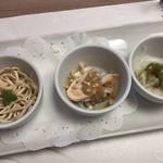 中国料理四季亭 - 枝豆、棒棒鶏、四川豆腐の和え物