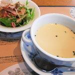 鎌倉パスタ - 週替りのサラダ+週替りスープ