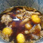 そば処 大和 - 鶏もつつけ汁のアップ