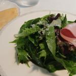 トラットリア イル フィオレット - 料理写真:中に具が隠れてるハーブサラダ 添えられたクレープを好みで巻いて
