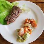 Ocean table - サーモンとアボカドのサラダ、焼きしゃぶ
