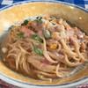 ペティトマト - 料理写真:ベーコンと枝豆とコーンの梅クリームスパゲティ