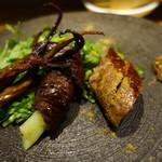 88844188 - 羊のウイグルソーセージ、豚の大腸パリパリ焼き、鴨の舌のスモーク