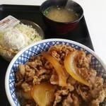 88845549 - 私の吉野家さんでの定番の「牛丼特盛・ポテトサラダ・味噌汁」の3点セットです。