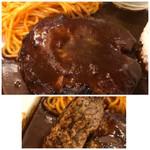 星乃珈琲店 - ◆ハンバーグは出来合いなのかもしれませんけれど手作り風で柔らかくジューシー。 デミグラスソースは昔洋食屋さんで頂いたような濃厚な味わいで、量もタップリ。 昭和テイストを感じ、どちらも好みでした。
