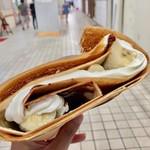 ラ クレープリー - クリーム2種 チョコレート+ブラッドオレンジ トッピング バナナ、ナッツ 550円