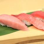 沼津魚がし鮨 - 特上本まぐろ3種にぎり
