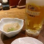 北前居酒屋 佐勘  - 生ビールとお通しのとうがん