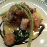 マザー・グース - ディナーコース5750円:魚介のソテー(バルサミコソースと小松菜のソースが絶品)