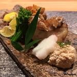88914221 - 鯛の子、甘鯛の若狭焼、会津地鶏焼、蛍烏賊黄身酢がけ