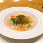 88920859 - タラバ蟹の旨味で楽しむアスパラの一品 フカヒレを添えて
